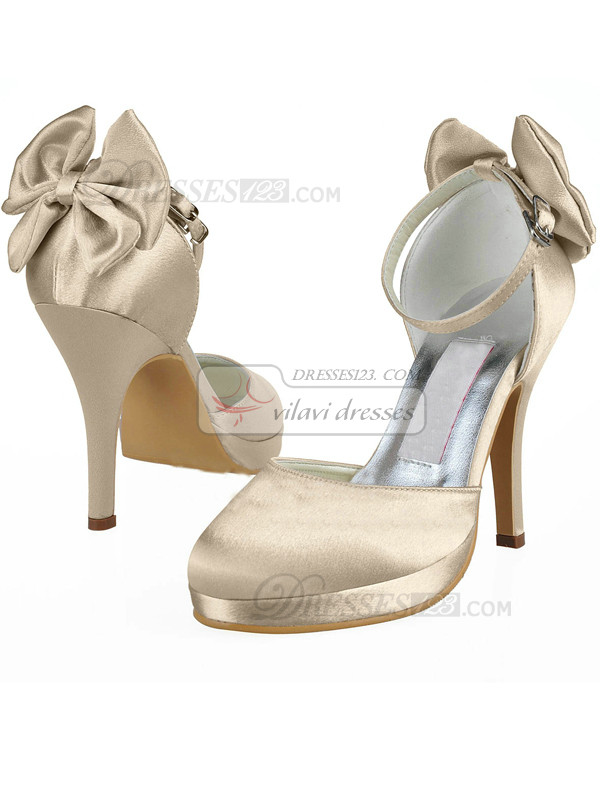 Satin Upper Stiletto Heel Closed Toes Buckle Wedding Shoes With Bowknot