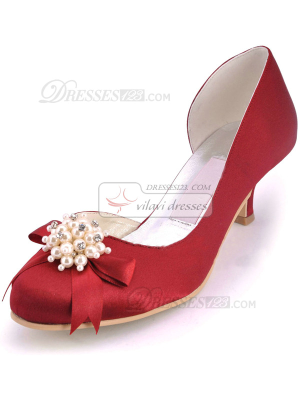 Beaded Satin Upper Mid Heel Round Wedding Shoes With Bowknot