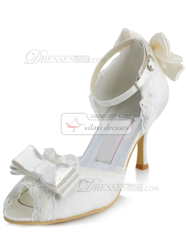 Satin Upper Stiletto Heel Lace Peep Toes Beaded Anklet Wedding Shoes With Bowknot