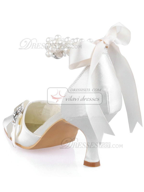 Satin Upper Stiletto Heel Pointed Beaded Anklet Wedding Shoes With Bowknot