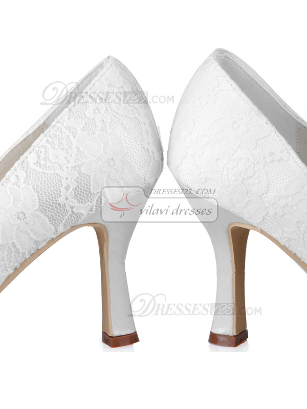 Lace Upper Stiletto Heel Closed Toes Beaded Wedding Shoes With Bowknot