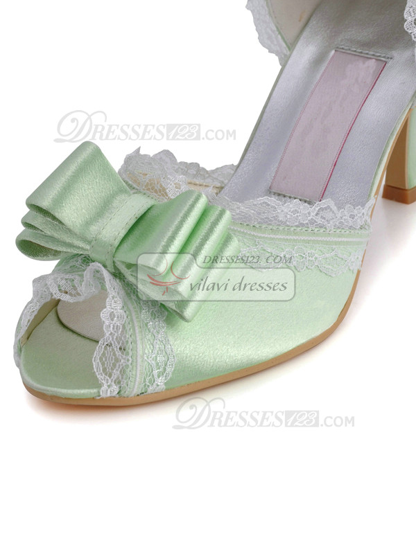 Satin Upper Stiletto Heel Lace Peep Toes Wedding Shoes With Bowknot