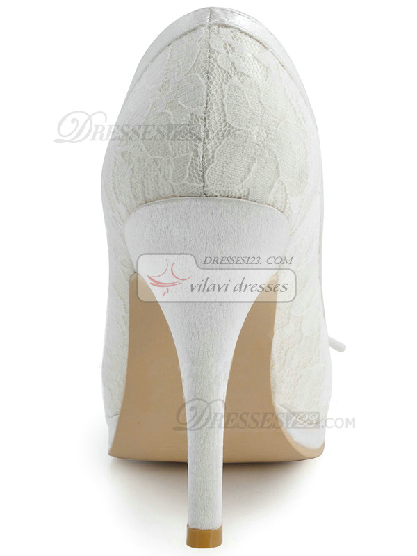 Lace Upper Stiletto Heel Round Pumps Wedding Shoes