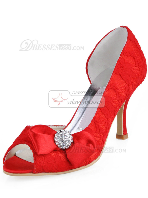 Lace Upper Stiletto Heel Peep Toes Wedding Shoes With Rhinestones And Bowknot