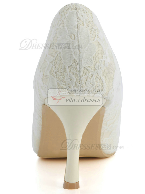 Lace Upper Stiletto Heel Pointed Pumps Wedding Shoes