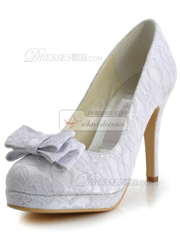 Lace Upper Stiletto Heel Round Bowknot Wedding Shoes