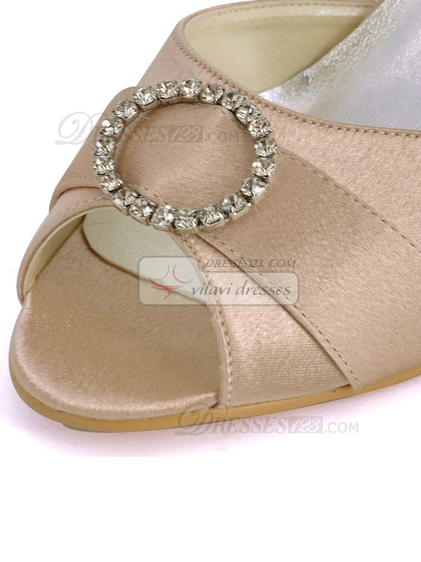Satin Upper Stiletto Heel Peep Toes Sandals Wedding Shoes With Rhinestones