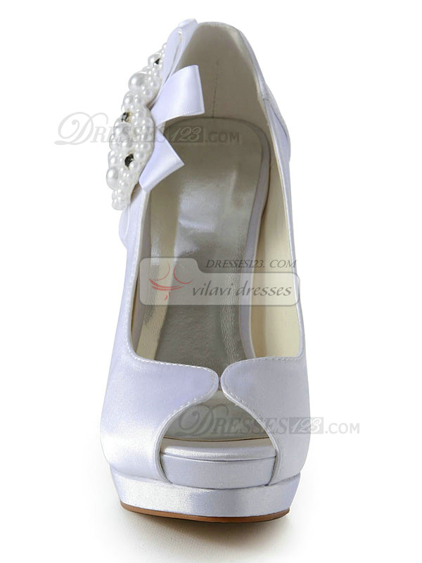 Satin Stiletto Heel Pumps With Heart Shaped Beading Peep Toes Platform Wedding Shoes