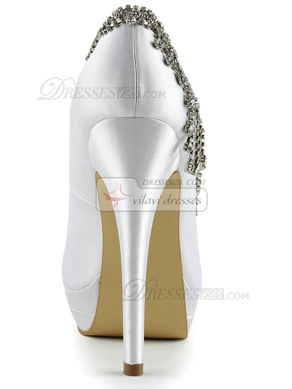 Satin Stiletto Heels Pumps Platform Wedding Shoes With Rhinestones