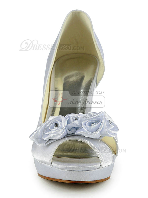 Satin Stiletto Heels Peep Toe Platform Wedding Shoes With Flower