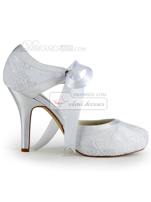Satin Stiletto Heels Pumps Lace Wedding Shoes