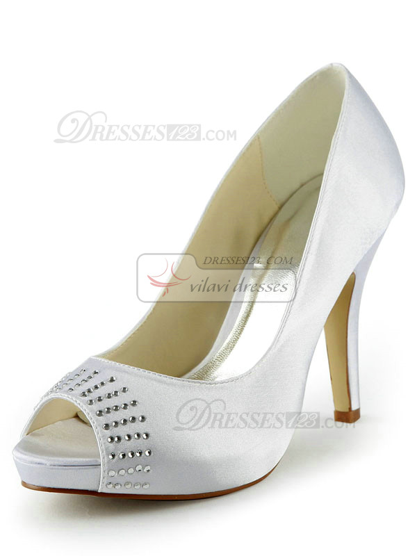 Satin Stiletto Heels Peep Toe Platform Wedding Shoes With Rhinestones