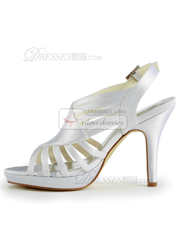 Satin Stiletto Heels Sandals Buckle Roman Style Wedding Shoes