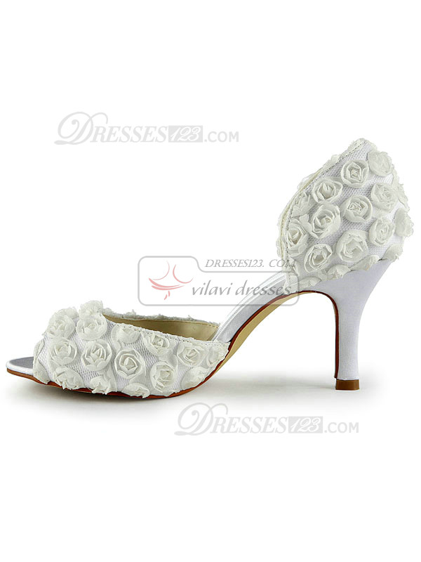 Satin Stiletto Heels Peep Toe Wedding Shoes With Rose Flowers
