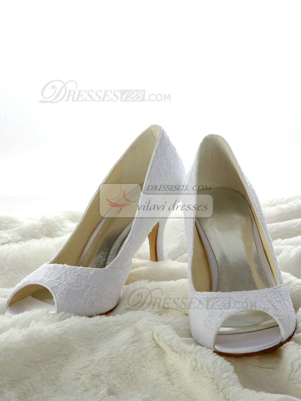 Lace Stiletto Heel Peep Toes Pumps Wedding Shoes