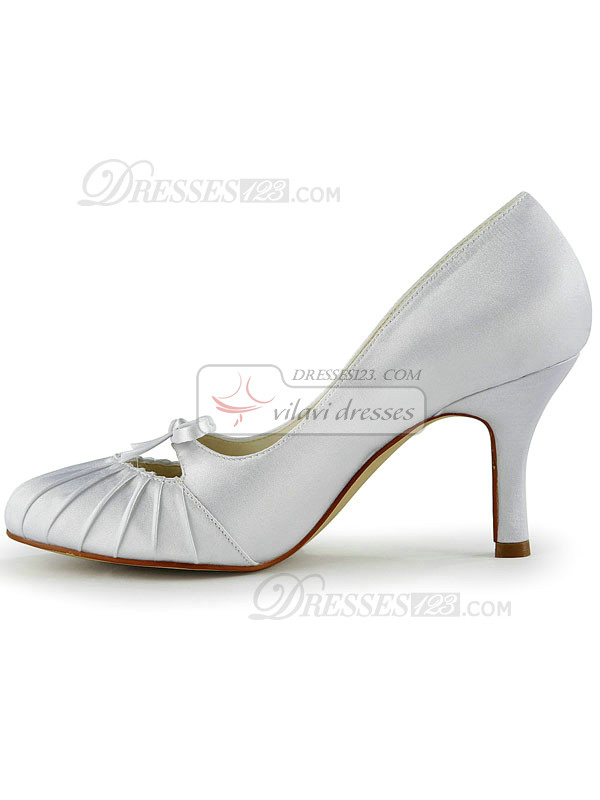 Satin Stiletto Heels Pumps Lace-up Ruched Wedding Shoes