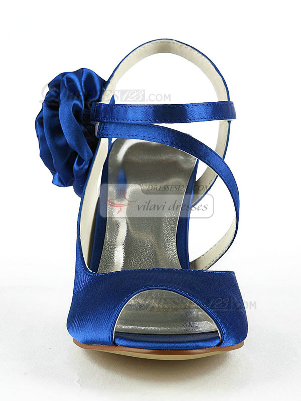 Satin Stiletto Heels Peep Toes Wedding Shoes With Flower