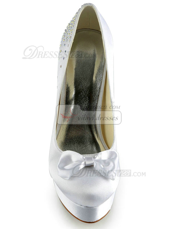 Satin Stiletto Heels Pumps Platform Rhinestone Wedding Shoes With Bowknot