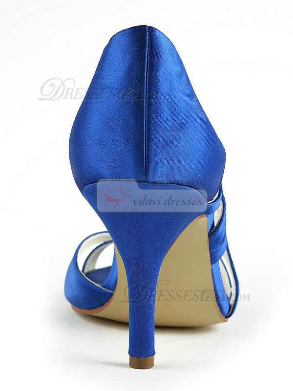 Satin Stiletto Heels Sandals Hollow Out Wedding Shoes