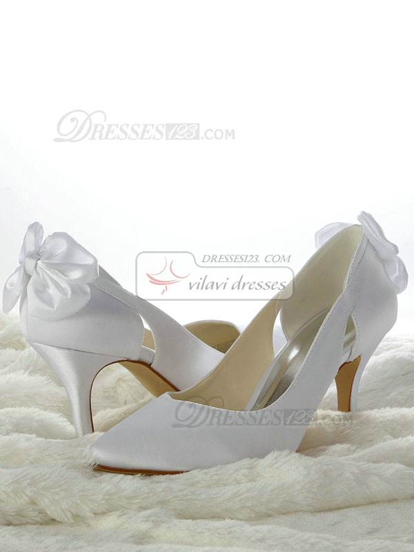 Satin Stiletto Heels Pumps Hollow Out Wedding Shoes With Bowknot
