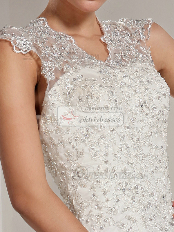 Wonderful Mermaid Lace Straps Chapel Train Beading Wedding Dresses