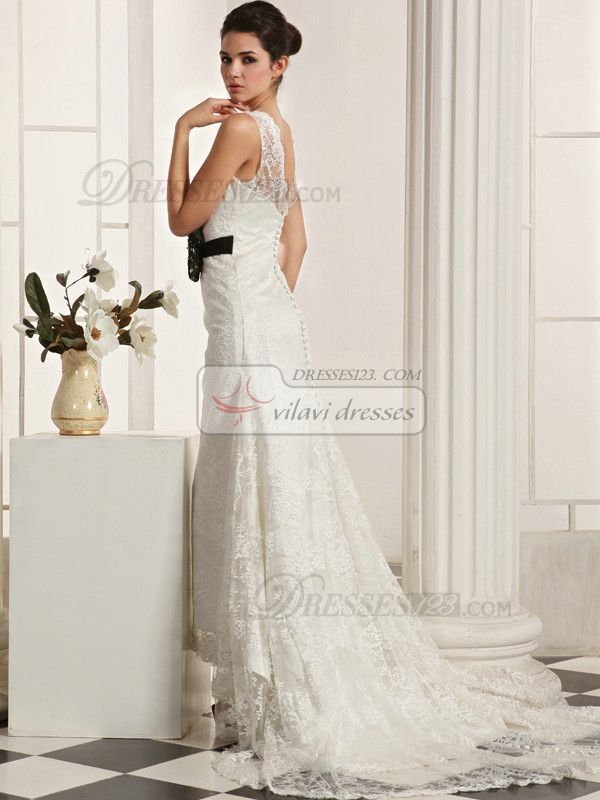 Beautiful Mermaid Lace Straps Court Train Flower Wedding Dresses