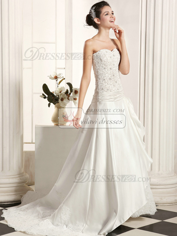 Appealing A-Line Taffeta Sweetheart Sweep Train Lace Wedding Dresses