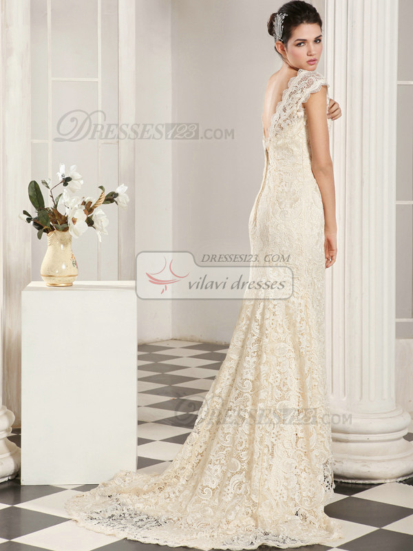 Precious Mermaid Lace Straps Court Train Wedding Dresses