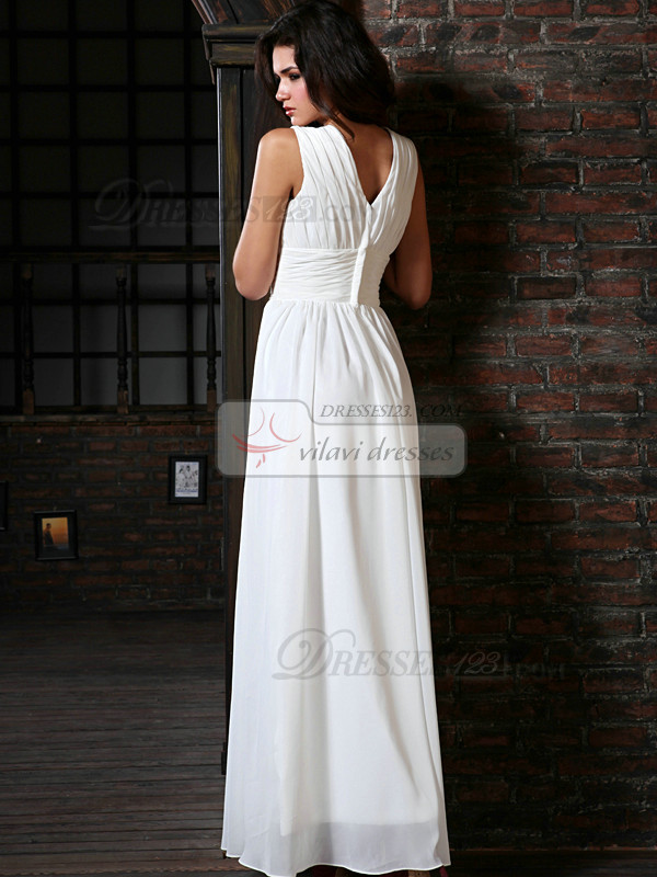 Perfect Column Chiffon V-neck Floor-length Draped Wedding Dresses