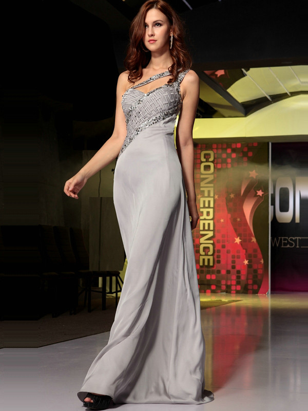 Awesome A-line Chiffon One shoulder Crystal Evening/Prom Dresses