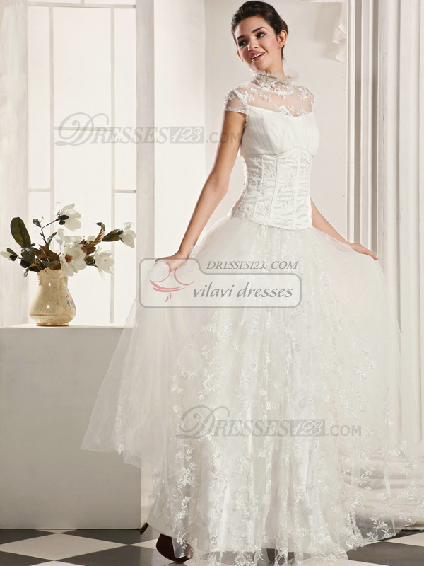 Fantastic A-Line Lace High neck Floor-length Draped Wedding Dresses