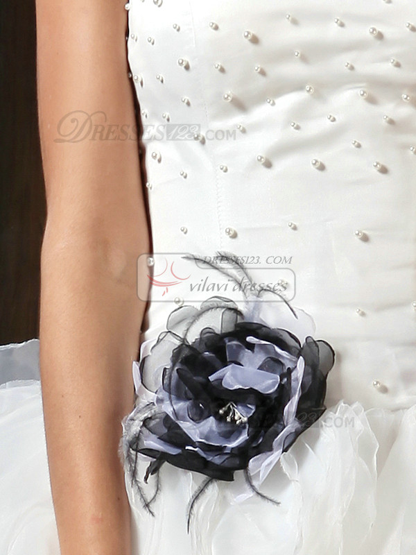 Fantastic Ball Gown Tulle Strapless Chapel Train Beading Wedding Dresses