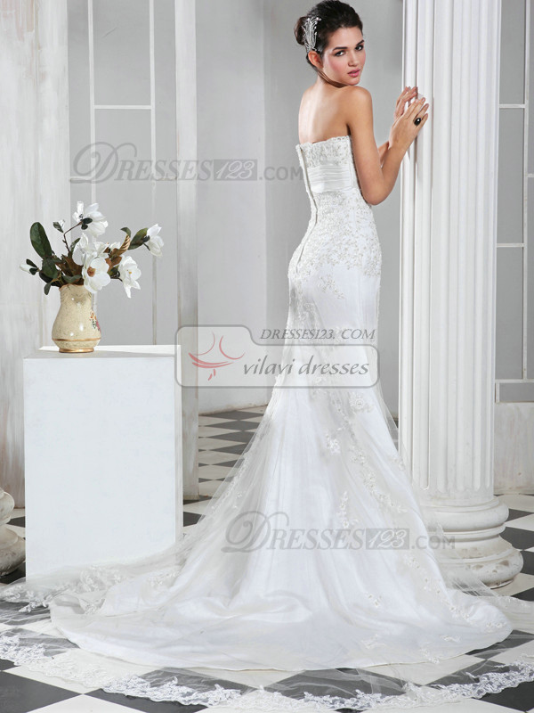 Glamorous Mermaid Lace Strapless Court Train Bowknot Wedding Dresses