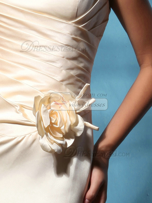 Terrific Sheath/Column Satin Floor-length Flower Prom Dresses