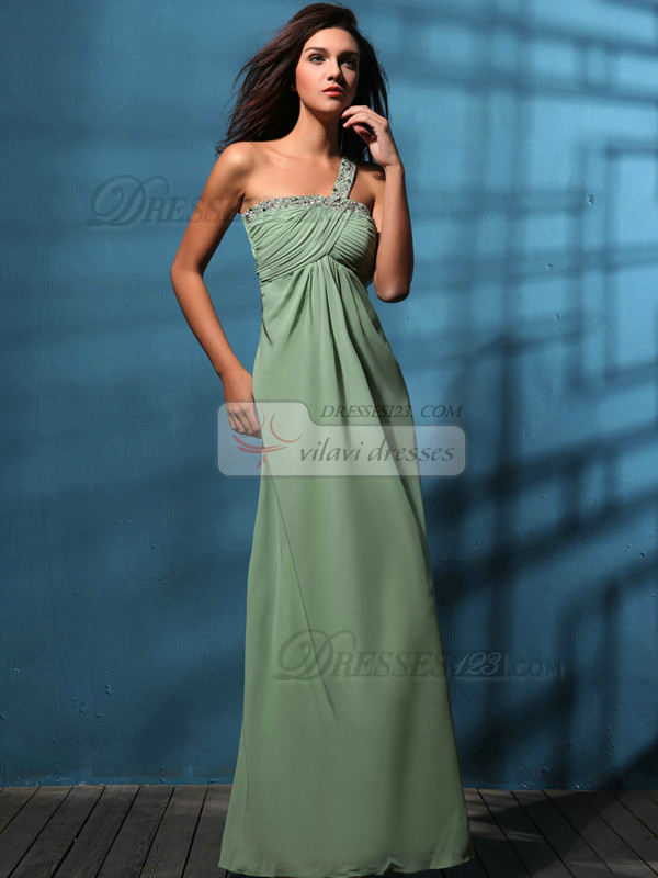 Stunning Sheath/Column One shoulder Floor-length Beading Prom/Evening Dresses