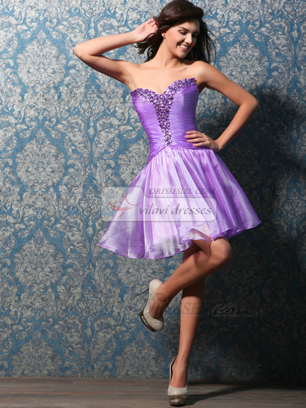Awesome A-line Sweetheart Short/Mini Crystal Sweet 16 Dresses