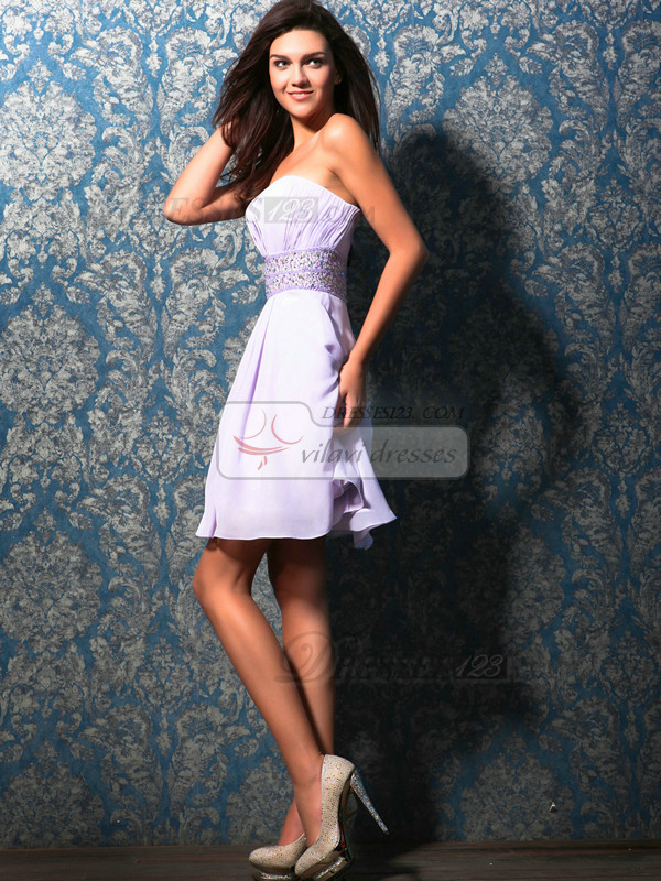 Graceful A-line Tube Top Short/Mini Sequin Homecoming Dresses