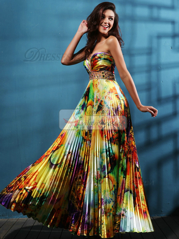 Gorgeous A-line Satin Sweetheart Print Prom/Evening Dresses