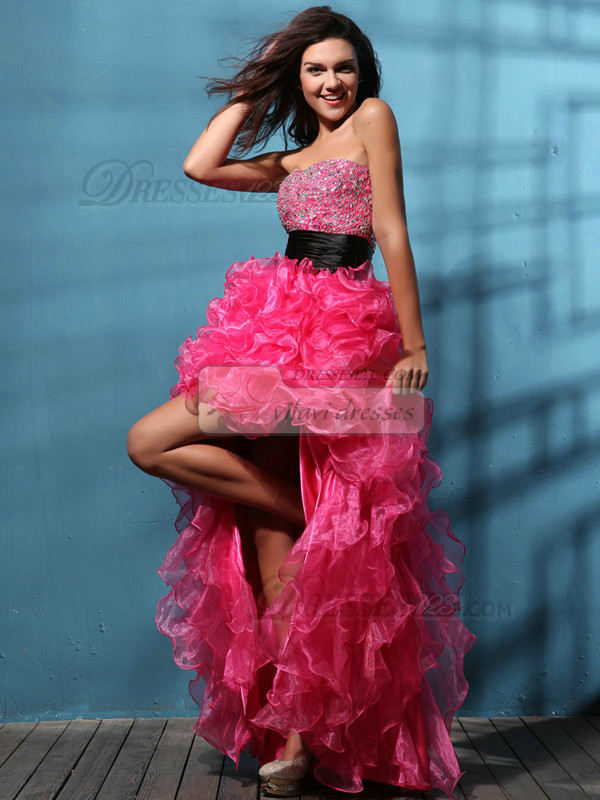 Perfect A-line Organza Asymmetrical Train Beading Prom Dresses