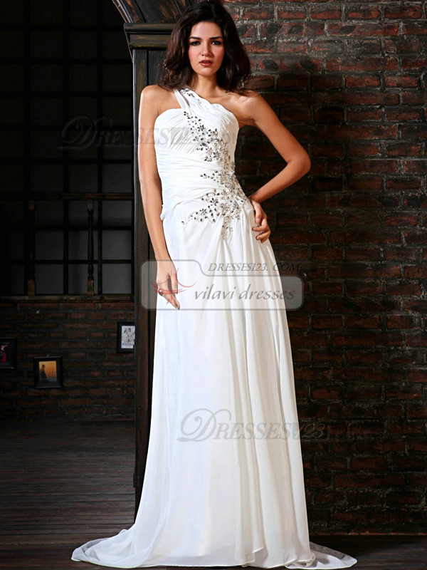Amazing A-Line Chiffon One shoulder Court Train Crystal Evening Dresses