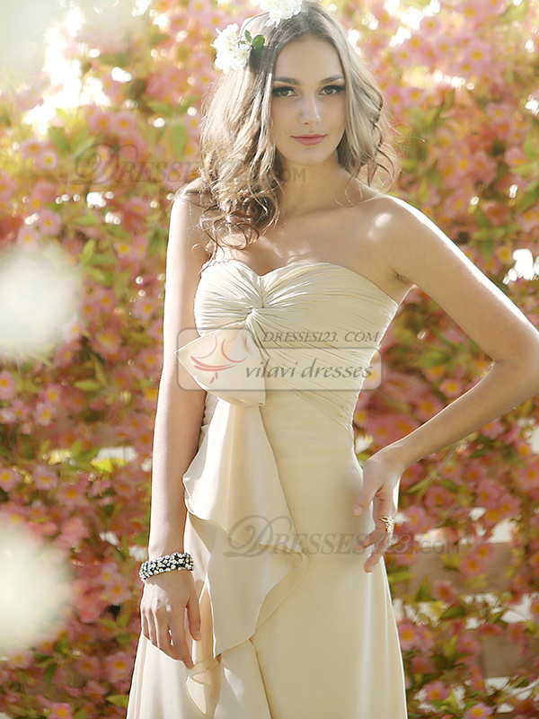 Ruffles A-line Chiffon Sweetheart Floor-length Draped Bridesmaid Dresses
