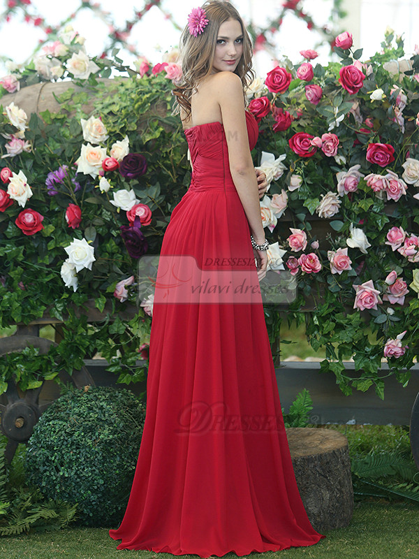 Ruched A-line Chiffon Red Strapless Floor-length Draped Bridesmaid Dresses