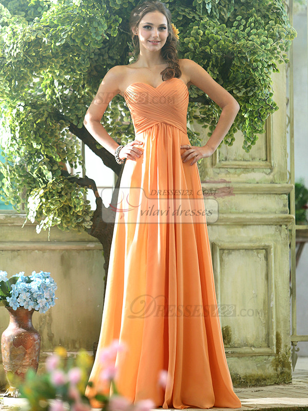 Ruched A-line Chiffon Sweetheart Floor-length Orange Draped Bridesmaid Dresses