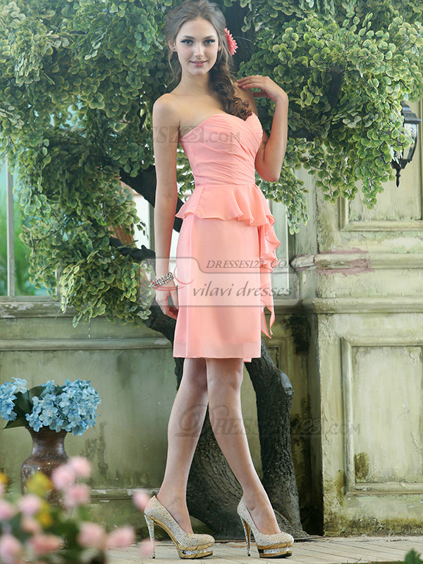 Column Chiffon Sweetheart Knee-length Pink Ruffle Bridesmaid Dresses