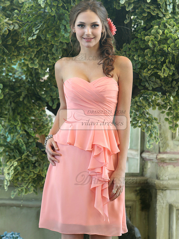 Column Chiffon Sweetheart Knee-length Pink Ruffle Bridesmaid Dresses Size 2 And Size 4
