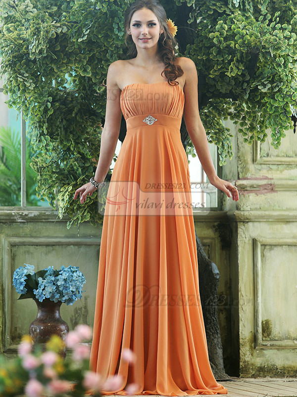 Pleated A-line Chiffon Strapless Floor-length Orange Sash with Crystals and Rhinestones Bridesmaid Dresses Size 2 And Size 4