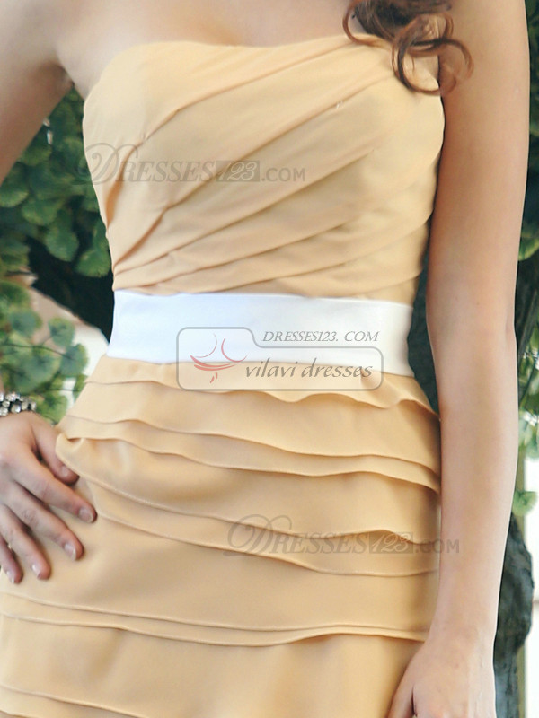 Sheath Chiffon Strapless Short Tiered Sash Bridesmaid Dresses