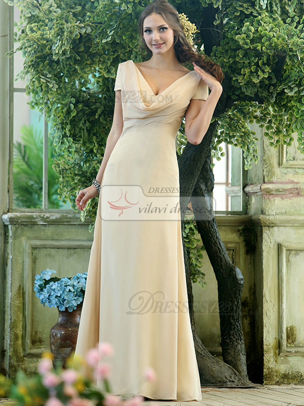 Modest A-line Chiffon Short Sleeves Cowl Neck Ankle-length Draped Front Bridesmaid Dresses