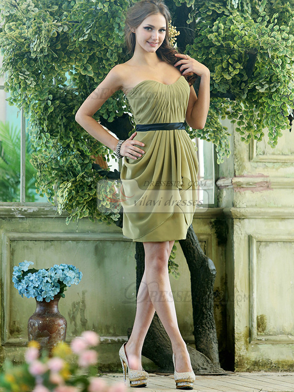 Sheath Chiffon Sweetheart Short Green Black Sash Draped Bridesmaid Dresses