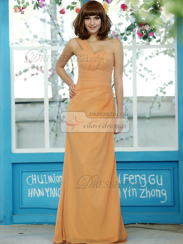 Column Chiffon One shoulder Floor-length Orange Draped Bridesmaid Dresses Size 2 And Size 4